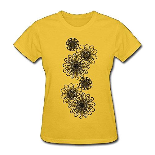 ひまわり Chrysanthemum 菊の花 ソフター ポリエステル レディース t シャツ