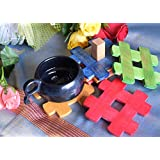 Hashcart Coasters In Colorful Wood For Serving With Stand (Set Of 6 + 1 Stand)