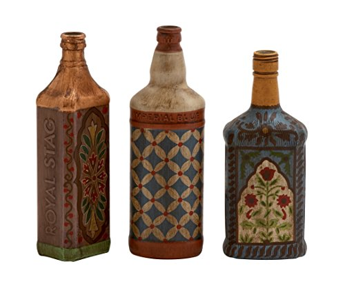 Deco 79 Glass Painted Bottle, 11 by 11-Inch, Set of 3