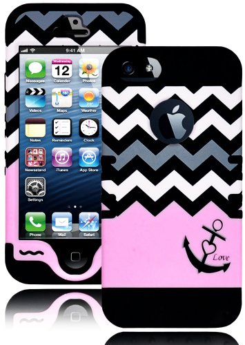 Mylife (Tm) Light Pink - Love Anchor Chevron Series (Neo Hypergrip Flex Gel) 3 Piece Case For Iphone 5/5S (5G) 5Th Generation Smartphone By Apple (External 2 Piece Fitted On Hard Rubberized Plates + Internal Soft Silicone Easy Grip Bumper Gel + Lifetime W
