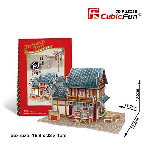 "W3132h Cubicfun 3d Puzzle China Flavor Linglong Steamed Stuffed Bun Shop 6.5"" - 1"