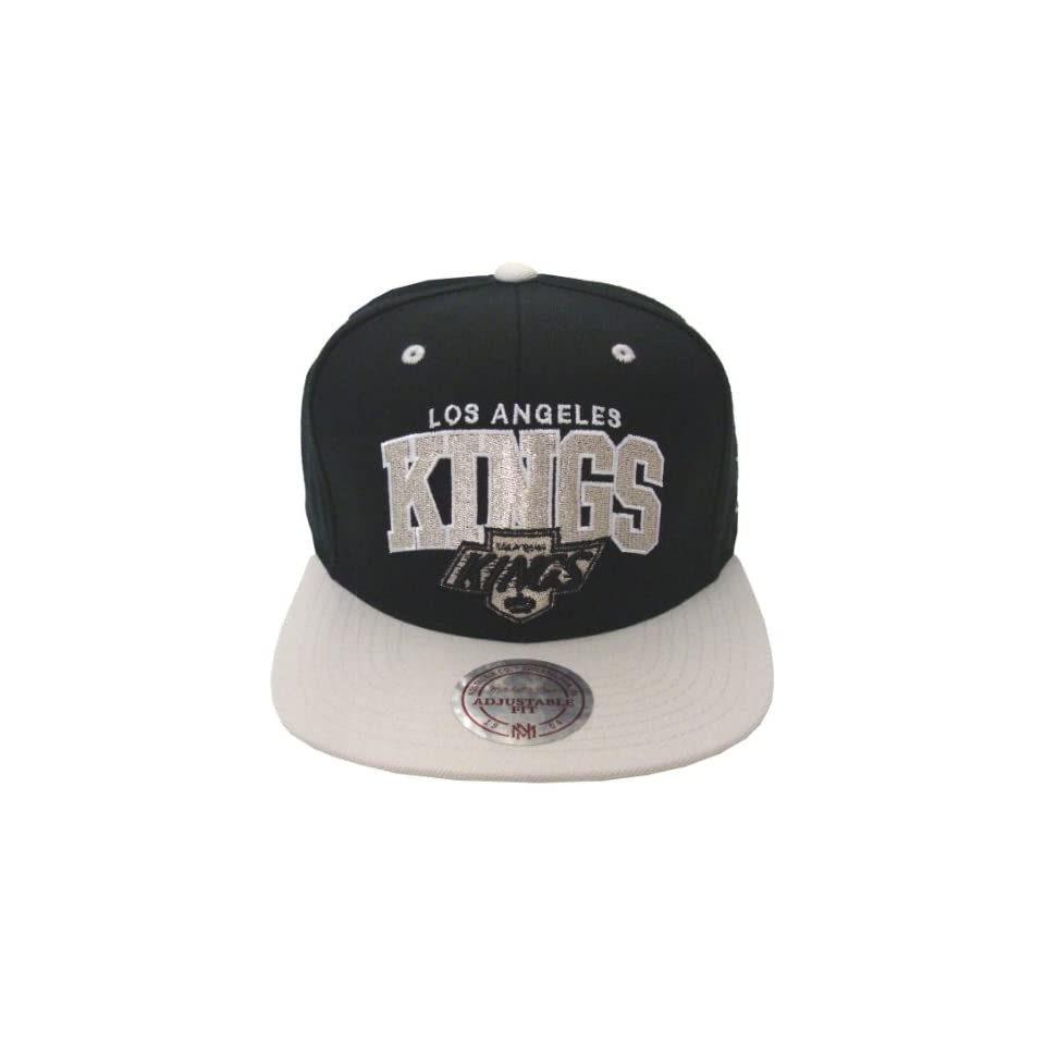 9b99f50c08bff Los Angeles Kings Retro Mitchell   Ness Block Snapback Cap Hat Black Grey