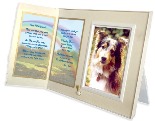 God Whispered Poem Pet Memorial Keepsake Picture Frame and Pet Loss Sympathy Gift, Warm White with Foil Accent