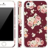 iPhone 5S Retro Floral Case, Akna Retro Floral Series**[Vintage Flower Pattern]**[Slim Cover]**[Semi-soft Rubber Oil Coating] Back Case for iPhone 5 5S - [Scotch Red Flower]