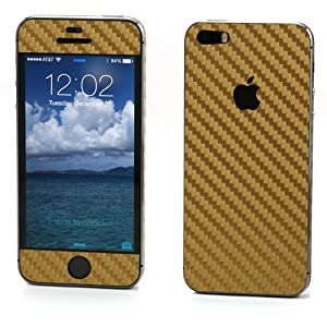 SKINTZ Gold Carbon Fiber Wrap / Skin for Apple iPhone 5 & iPhone 5s