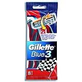 Gillette Rasoirs Jetables Blue 3 Rouge x 8