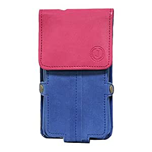 Jo Jo A6 Nillofer Series Leather Pouch Holster Case For Lava Pixel V2 Dark Blue Pink