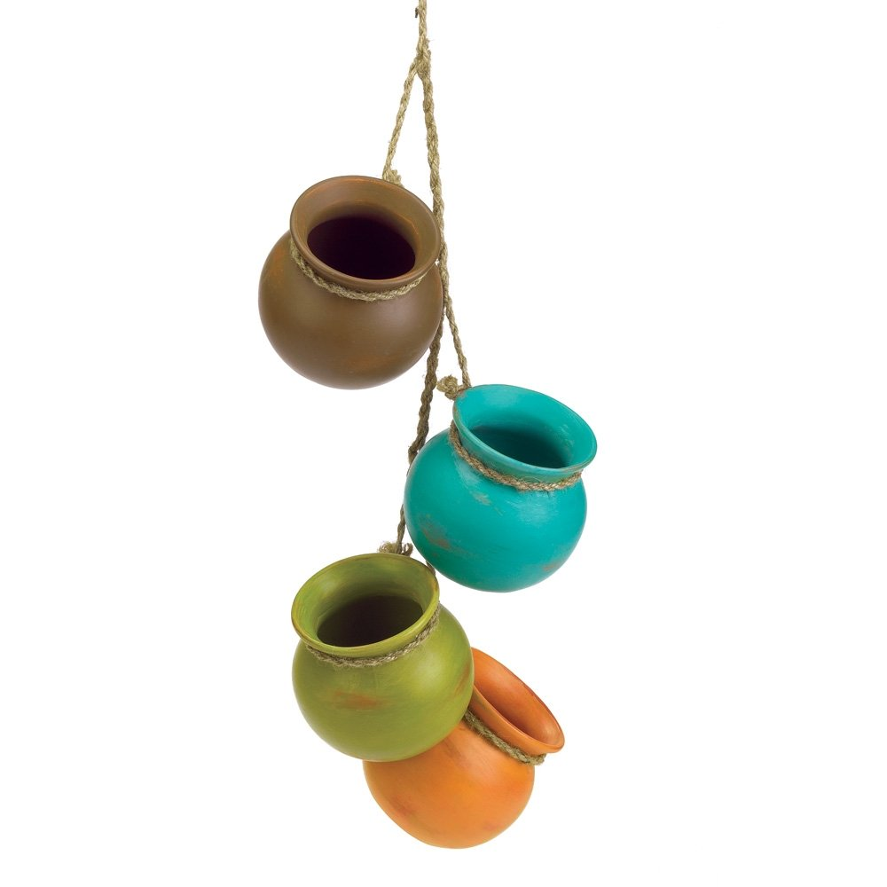 Mini dangling ceramic planting pot set indoor outdoor for Small clay flower pots