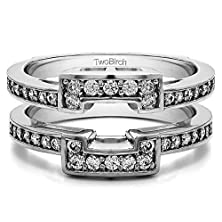 buy 1/3 Ct. Charles Colvard Created Moissanite Square Halo Style Ring Guard In 10K White Gold (0.32 Ct. Twt.)