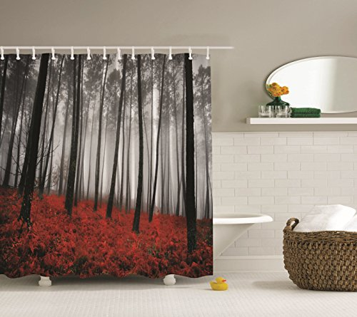 Video Fabric Shower Curtain Mystic Forest Red Grass Black And Gray Modern