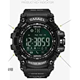 SMAEL Digital LED Display ,Bluetooth Smart with Android and IOS,Waterproof and Electric Alarm,with Running Timer, Multifunctional Sports Watch (Black) (Color: Black, Tamaño: 17mm)