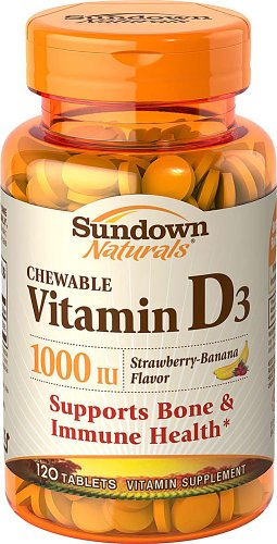 Sundown Naturals Chewable Vitamin D3 Strawberry-Banana -- 1000 Iu - 120 Tablets