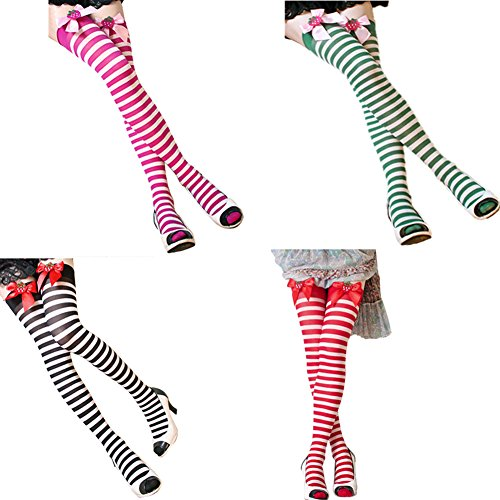 FUNOC Women's Striped Strawberry Bow Thigh High Socks Stockings