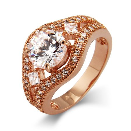 Victoria's Dazzling Brilliant Cut CZ Vintage Rose Gold Ring Size 8 (Sizes 5 6 7 8 9 Available)