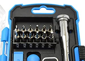 Cell Phone Repair Tools - 17-Pc Precision iPhone Repair Kit - Magnetic Pro Smartphone Tool Set with Screwdriver, Bits, Pry Bars and Suction Cup by Geeks N GearTM - Repairs Cell Phone, Screen, Laptop, Computer, Tablet with Microfiber Bonus Gift