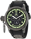 Invicta Russian Diver Men's Quartz Watch with Black Dial Analogue Display and Black PU Strap in Black Plated Stainless Steel Case 1805