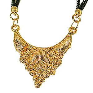 Surat Diamonds Gold Plated Mangalsutra Pendant with Black Kedia Beads Chain 30 IN for Women  MNG11  available at Amazon for Rs.99