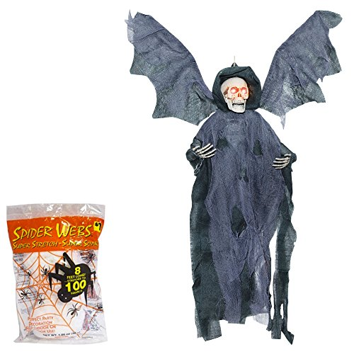 [Halloween Decoration Animated Reaper | Sound Activated Flying Prop | 21 Inches with Spider Webbing Decoration - Black] (Black Spider Animated Prop)