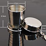 Iuhan® Fashion Telescopic Collapsible Stainless Steel Shot Glass Key Ring