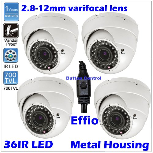 4 Pcs Sony Effio Ccd 700 Tvl Osd Menu 36Ir Led Surveillance Security Dome Cctv Camera