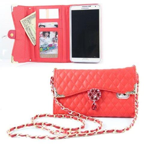 Bellebo (ベルボ) iphone6 / 6 plus バッグ 風 デコ 手帳 型 キルティング ケース カバー アイフォン 07 iphone6plus レッド
