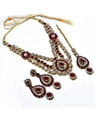 AD Necklace Set Bridal Kundan Polki Jadau One Gram Gold Plated Handmade Reallook Jewelr With Tika - B00OKIY86U