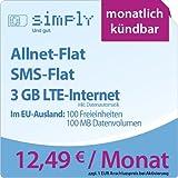 simply LTE 3000 [SIM, Micro-SIM und Nano-SIM] monatlich kündbar (3 GB LTE-Internet mit max. 50 MBit/s inkl. Datenautomatik, Telefonie-Flat, SMS-Flat, aus dem EU-Ausland in alle EU-Netze: 100 Freieinheiten und 100 MB Internetvolumen, 12,49 Euro/Monat) O2-Netz