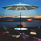 Ultra Brite Outdoor Premium 432 LED Lighted Patio Umbrella with Dimmer, 9 feet (Tan with Warm LED)