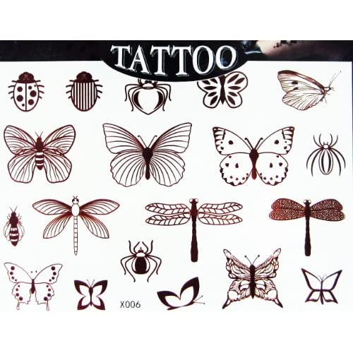 Egood High Quality Temporary Tattoo Waterproof (Henna Style Insect