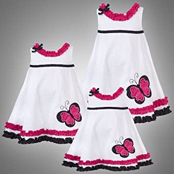 Size-2T RRE-43432S WHITE PINK BLACK BUTTERFLY and RUFFLE TRAPEZE SEERSUCKER Spring Summer Party Dress,S243432 Rare Editions TODDLERS