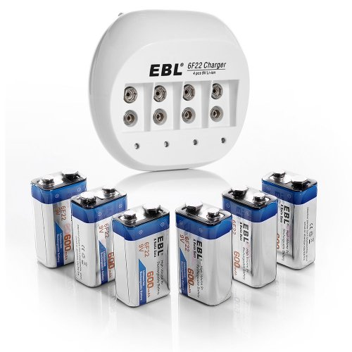 Ebl® 855A 4 Bay 9V Li-Ion Battery Charger With 6 Pack 600Mah 9 Volt 6F22 Low Self-Discharge Lithium-Ion Rechargeable Batteries