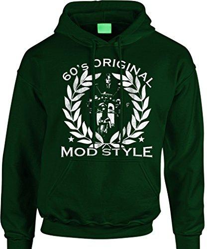 Epiphany T-shirts Mod Herren Antik Aufdruck Kapuzenpullover - '60er Jahre Original Modischer Stil' The Jam Paul Weller Moped Scooter - Flaschengrün, M