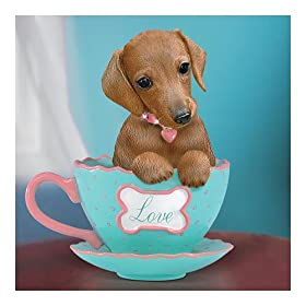 Dachshund-Themed Teacup Figurine : A Cup Of Love