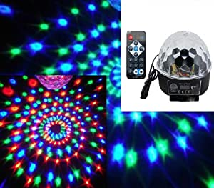 Zuwit HOT Sale Panel Voice Remote Control 6x LED Crystal Ball Party Lighting Disco DJ Stage Light