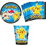 Pokemon Pikachu & Friends Birthday Party Supplies Set Plates Napkins Cups Kit for 16