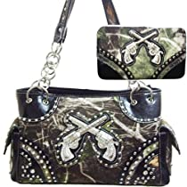 CONCEALED CARRY HANDGUN HANDBAG W/CAMO PRINT AND DOUBLE CROSS GUN-BLACK