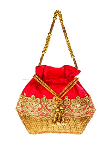 Sling Red Color Draw String Raw Silk Potli  available at amazon for Rs.395