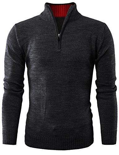 ohoo-mens-quarter-zip-neck-acrylic-pullover-sweater-dcp002-black-xl