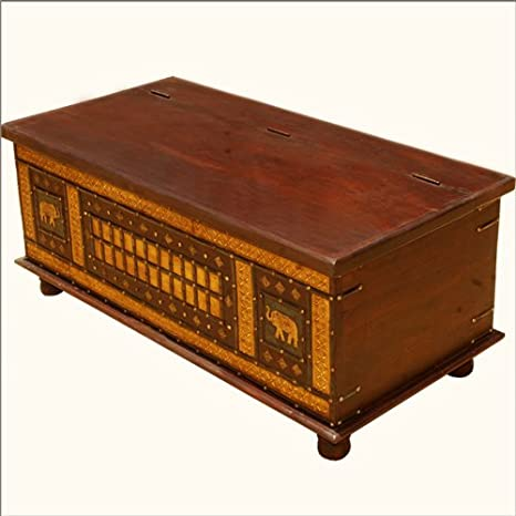 New Delhi Golden Elephant Mango Wood Coffee Table Chest