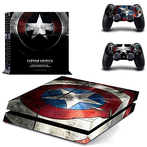 258stickers® Playstation 4 Console Skin & Remote Controllers Skin - SHIELD Avengers Face of American Heroes Portrait Styles - Roger Super Soldier Star Circular Adamantium Captain America's Shield (Ps3 Controller Skin America compare prices)