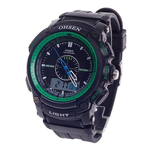 Peleustech® Ohsen Ad1209 Fashion Dual Time Waterproof Quartz Analog Digital Alarm Clock Sports Military Watch