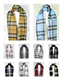 Premium Super Soft Cashmere Feel Classic Plaid Tassel Ends Scarfs