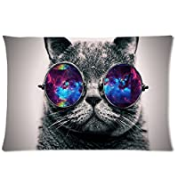 Galaxy Hipster Cat Theme(3D) Funny Cat Wear Color Sunglasses Soft Custom Rectangle Pillowcase Pillow Case Covers 20X30(One Side) by Pillowcase