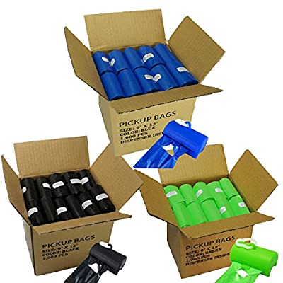 1000 Dog Pet Poop Bags, 50/20 Refill Rolls (Free Patented Dispenser)