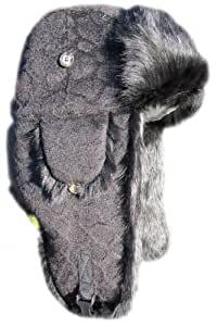 Mad Bomber Wool Bomber Hat with Real Fur, Black Leopard with Black Fur, Medium