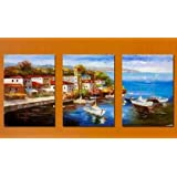 Art Hand Painted Modern Abstract Oil Painting on Canvas Italian Habor Seashore 3 Piece Wall Art Deco Home Decoration Mediterranean Sea 3 Pic/set Stretched Ready to Hang