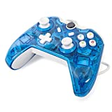 Maexus Wired Xbox One Controller Transparent Blue Gamepad Joypad with Shining LED Lights Support Monster Hunter World Etc. (Color: Wired-blue)