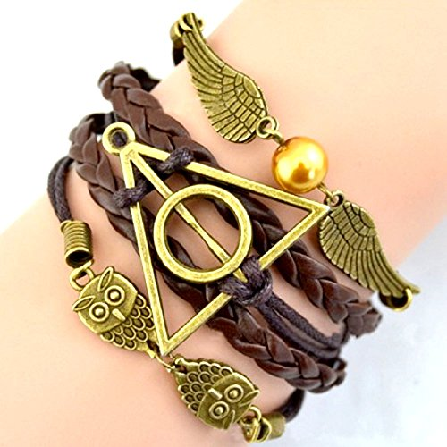 BRACCIALE DELL'AMICIZIA MARRONE HARRY POTTER SIMBOLO TRIANGOLO E CERCHIO CIVETTA E ALI IDEA REGALO UOMO DONNA