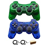 Kolopc Wireless Bluetooth Controller for PS3 Double Shock - Bundled with USB Charge Cord (Clear Blue and Clear Green1)