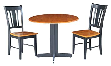 3-Pc Round Drop Leaf Table in Black Finish